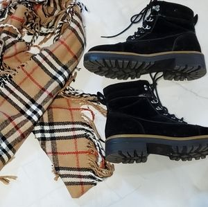 Faux suede Time and Tru ankle boots and scarf